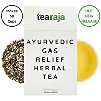 TeaRaja Ayurvedic Gas Relief, Weight Loss Herbal Tea with Green Tea Peppermint, Chamomile, Triphala and Coriander and Carom Seeds (100 g, 55 Cups)
