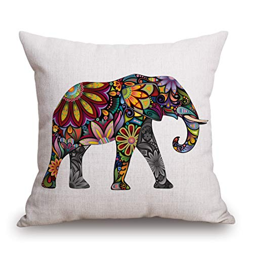 Kingla Home Square Pillowcase Cotton Linen Decorative Throw Pillow Covers 18 X 18 Inch Colorful Cute Elephant Cushion Covers for Sofa (Dog Designer Pillow)