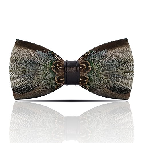 Lanzonia Feather Bow Ties for Men, Handmade Bowtie for Wedding Party Holiday - Holiday Neckwear