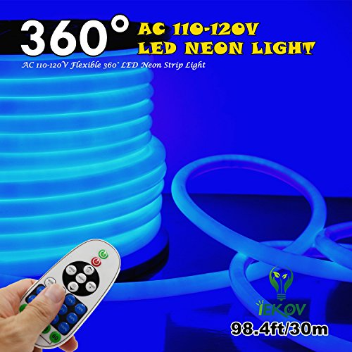 [UPGRADE] 360° LED NEON LIGHT, IEKOV™ AC 110-120V Flexible 360 Degree LED Neon Strip Lights, Dimmable & Waterproof NEON LED Rope Light + Remote Controller for Decoration (98.4ft/30m, Blue) by IEKOV