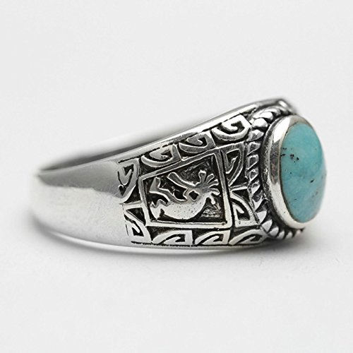 Bishilin Rings for Men Silver Plated Oval Turquoise with Totem Partner Rings Silver Size 12 by Bishilin (Image #1)