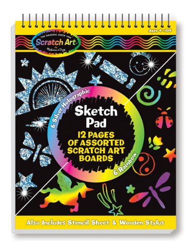 Melissa & Doug Scratch Art Sketch Pad With 12 Scratch-Art Boards and Wooden - Cut Sparkle Outs Paper
