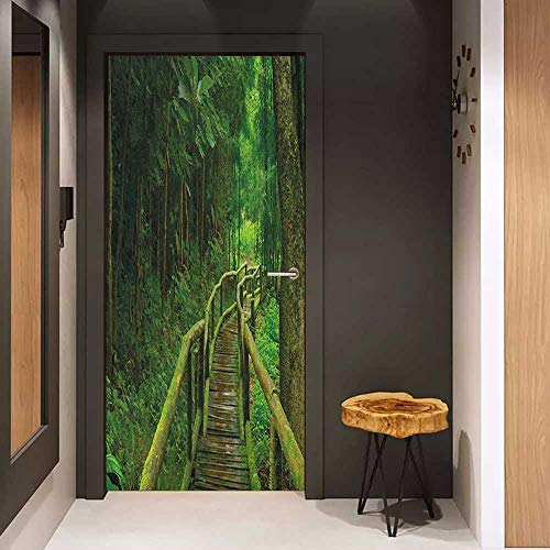 Onefzc Door Wall Sticker Jungle Rainforest in Thailand Foliage Greenery Wooden Pathway Trekking Primeval Ancient Mural Wallpaper W23 x H70 Green Brown Brown Wall Doctor Wallpaper