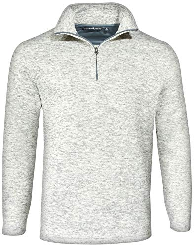 Beverly Hills Polo Club Men\'s 1/4 Zip Mock Neck Fleece Sweater, Ivory, (Open Neck Fleece Pullover)