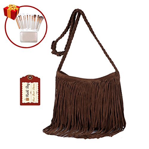 Heidi Hobo Hippie Fringe Tassel Faux Suede Shoulder Messenger Cross Body Womens Sling Bag (brown) Hippie Suede Shoulder Bag