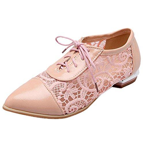 COOLCEPT Women Fashion Lace Up Pumps Shoes Pink
