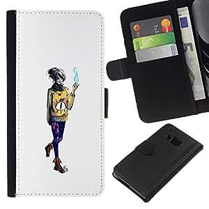 NEECELL GIFT forCITY // Billetera de cuero Caso Cubierta de protección Carcasa / Leather Wallet Case for HTC One M9 // Emo fumadores Chica