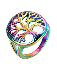 UM Jewelry Mens Womens Stainless Steel Rainbow Tree Of Life Celtic Ring Hollow Out