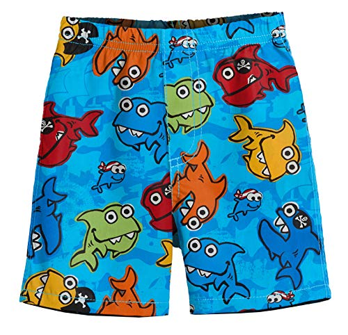 City Threads Little Boys' Solid Block Swimsuit Swim Trunks, Pirate Fish (Baby Shark), 5 ()