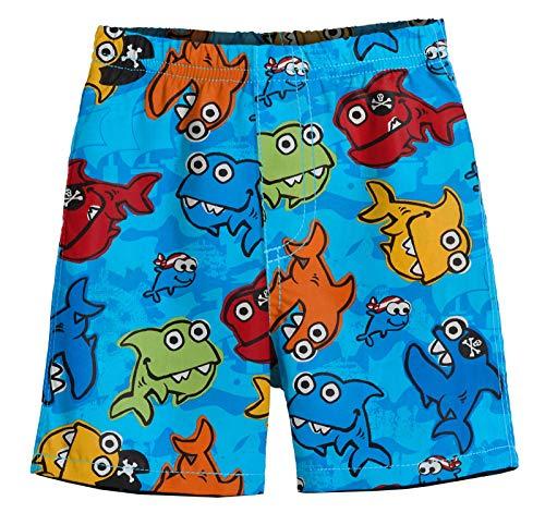 Thread Fish - City Threads Big Boys' Solid Block Swimsuit Swim Trunks, Pirate Fish (Baby Shark), 7