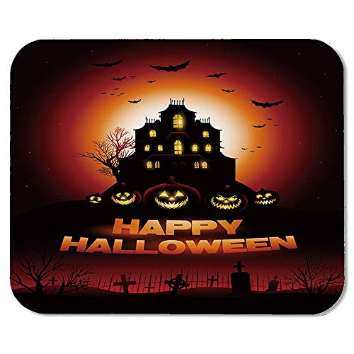 Halloween Personalized Mouse Pad,Happy Halloween Haunted House Flying Bats Scary Looking Pumpkins Cemetery Decorative for Work Game,7.87''Wx9.45''Lx0.08''H]()