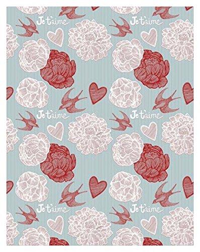 Yame 5x7ft Vinyl Digital Blue Wallpaper Flower Heart Swallow