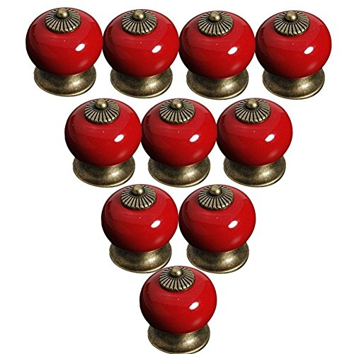 Ceramic Drawer Pull Knobs Red, Lsgoodcare Pumpkin Ceramic Cabinet Pull Knobs Door Pull Handle Cupboard Wardrobe Baby Children's Furniture Knob, Europe Vintage Style, 38MM,10PCS