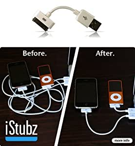 CableJive iStubz Sync and Charge Cable for iPod, iPhone, iPad (White - 7cm); Short iPhone 4, 4S, 3 Cable to Charge and Sync Without Tangle. Convenient, Durable and Low Price Cable for Travel, Office, and Home use. High Quality cable for use with iPhone 4 4/S. by CABLEJIVE
