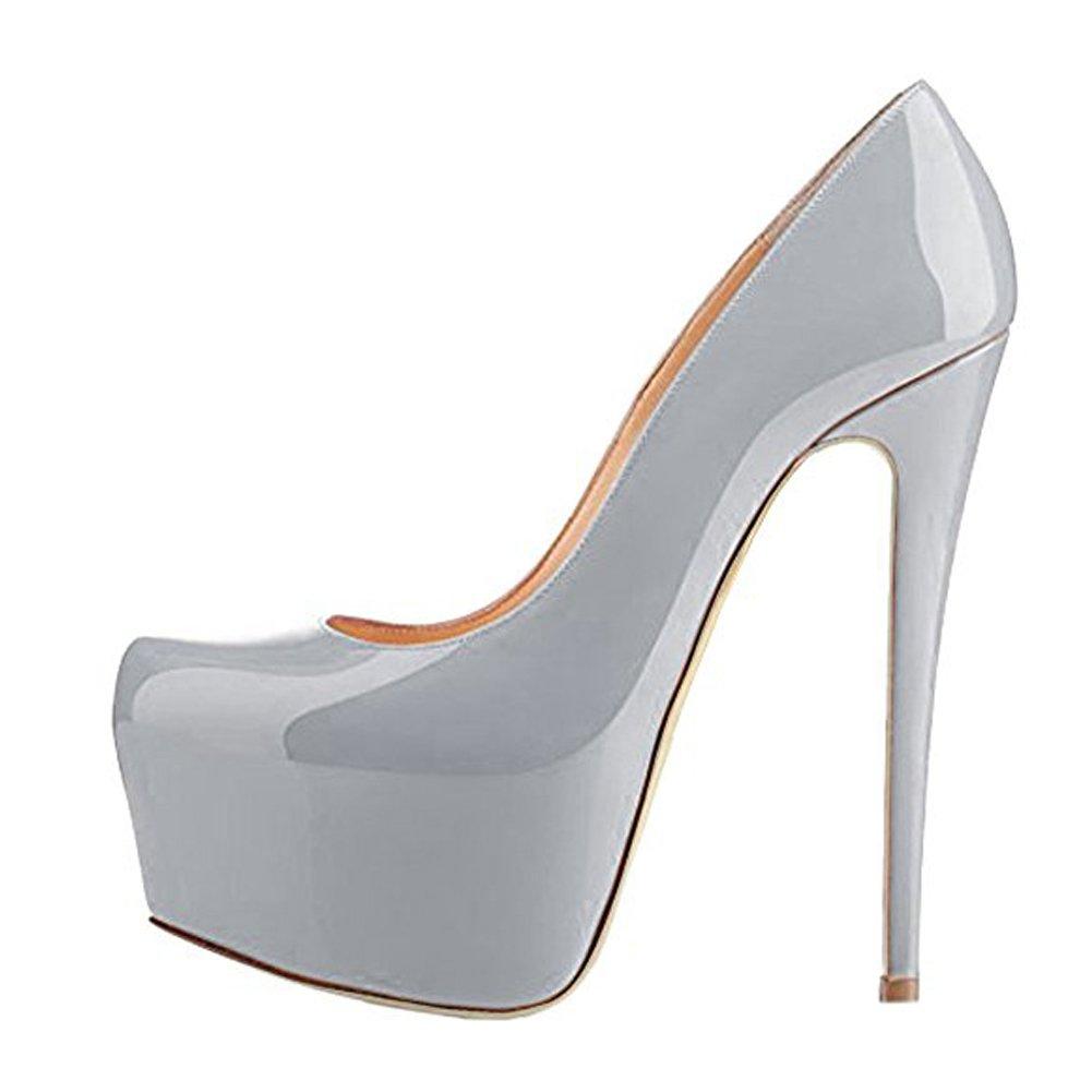 Onlymaker Damen Open Toe Plateau Stiletto High Heel Pumps Schluepfen Party Hochzeit Schuhe Lack Grau