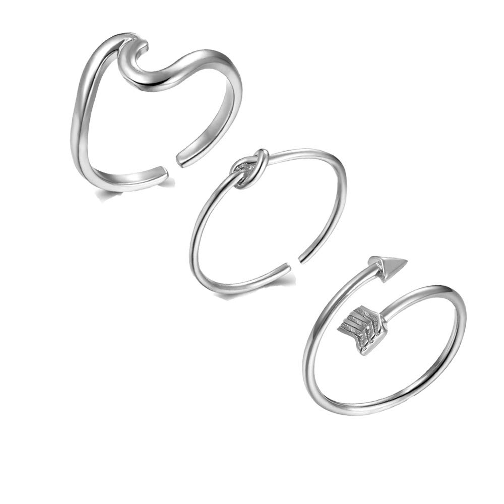 choice of all 3Pcs Arrow Knot Wave Rings for Women Simple Adjustable Rings Set (A:Sliver) by choice of all