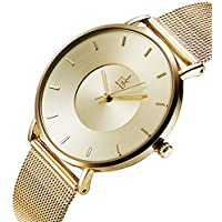 Women Simple Mesh Bracelet Watch Girl Stainless Steel Band Analog Watches (59 Gold)