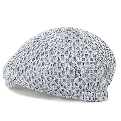 5505a7ac23e14 ililily Round Hole Mesh Fitted Gatsby Newsboy Hat Cabbie Hunting Flat Cap,  Grey