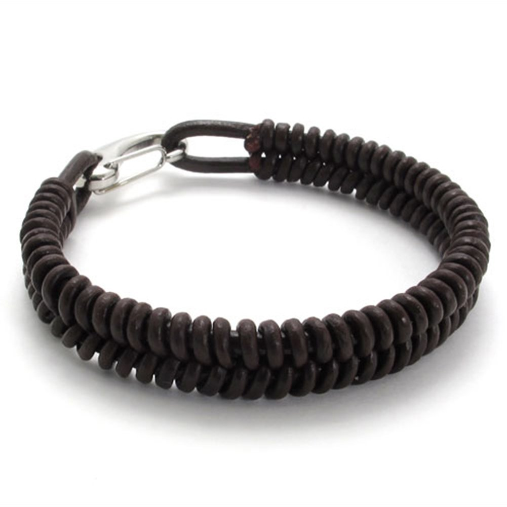 TEMEGO Jewelry Mens Leather Braided Bracelet,Stainless Steel Clasp,Brown-7.5,8,9