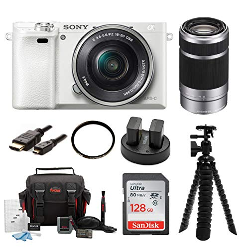 - Sony Alpha a6000 Mirrorless Camera (White) w/ 16-50mm & 55-210mm Lens (Silver) and 128GB SD Card Bundle
