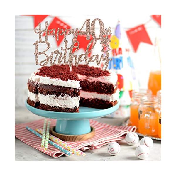 Magnificent Rose Gold Glittery Happy 40Th Birthday Cake Topper 40Th Birthday Funny Birthday Cards Online Elaedamsfinfo