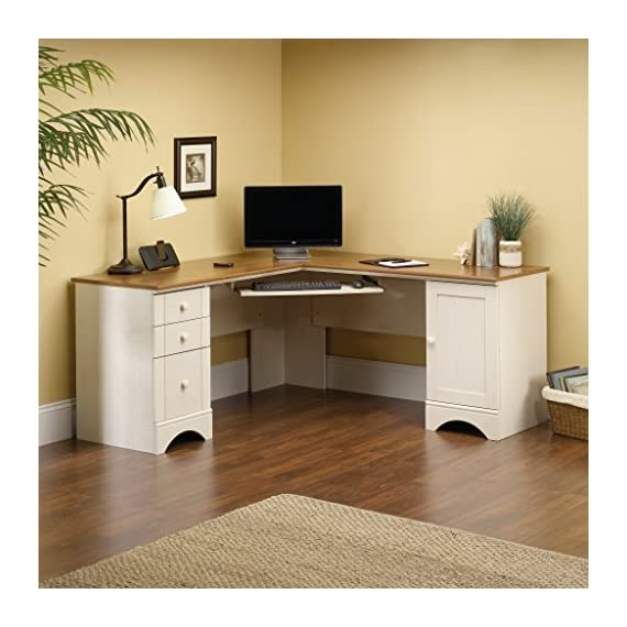 Sauder Harbor View Computer Desk, Antiqued White finish - L-shaped desk is perfect for maximizing space in corner offices Melamine top surface is heat, stain, and scratch-resistant Slide-out keyboard/mouse shelf with metal runners and safety stops - writing-desks, living-room-furniture, living-room - 51Gi%2BFn xsL. SS570  -