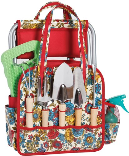 Cheap  Picnic Plus 9 Piece Deluxe Garden Tote with Stool, Kneeling Pad and..