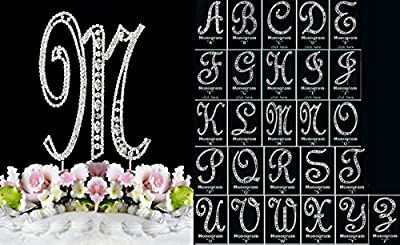 Monogram Cake Toppers Modern Vintage Crystal Cake Topper Silver Letter by Yacanna