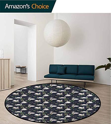 RUGSMAT Swan Machine Washable Round Bath Mat,Lilies Cattails Waterfowls Floor Mat Home Decor Round-55