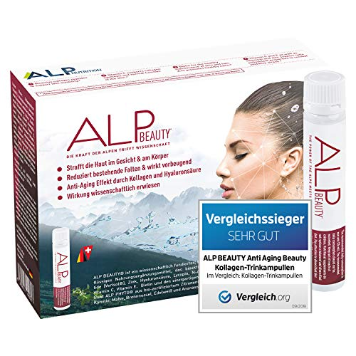 ALP BEAUTY Anti Aging Kollagen Trinkampullen 14x25 ml Hyaluronsäure Biotin Zink Vitamin C E Hyaluron Collagen Supplement - Anti Falten Hautpflege Kosmetik für Frauen