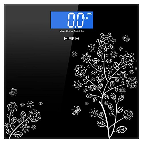 Hippih 400lb / 180kg Electronic Bathroom Scale with Tempered Glass Balance Platform and Advanced Step-On Technology, Digital Weight Scale has Large Easy Read Backlit LCD Display A-002