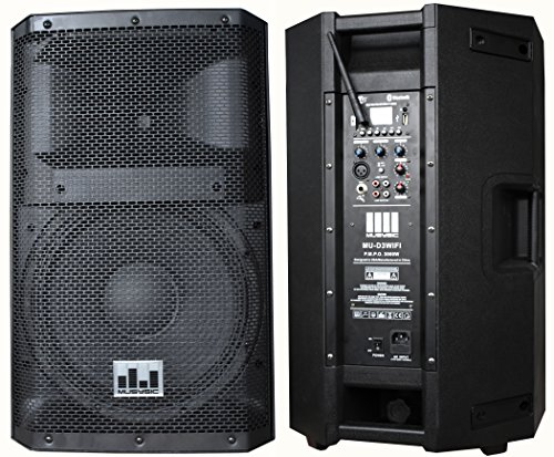 MUSYSIC MU-D3WIFI Professional 3000 Watt 2-Way Active Powered PA Speaker w/ WiFi (Way Pa Bi Speaker Amplified)