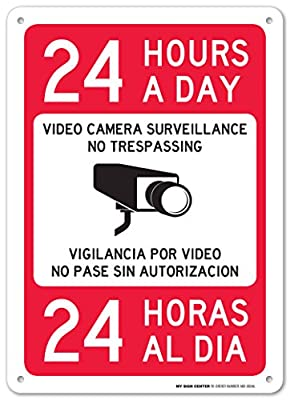 "24 Hours a Day Video Camera Surveillance No Trespassing Laminated Sign - Bilingual Security Signs - 10""x14"" .040 Rust Free Aluminum - Made in USA - UV Protected and Weatherproof by Visual 52"