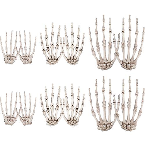 Halloween Skeleton Hand Prop (Boao 12 Pieces Halloween Skeleton Hands Scary Plastic Fake Skeleton Bone Hands for Halloween Themed Party Decoration Props, 3 Sizes (Color Set)