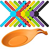 6 Pack Foldable Non-slip Silicone Trivets, SourceTon's Expandable / Collapsible Design Silicone Trivets in Cute Colors, Free Bonus Spoon Rest / Balloon Whisk Rest