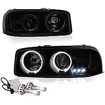 [Built-In COB Cree LED Low Beam] - VIPMotoZ 1999-2006 GMC Sierra 1500 2500 3500 Yukon XL Smoke Lens Halo Headlights Headlamps, Driver and Passenger Side