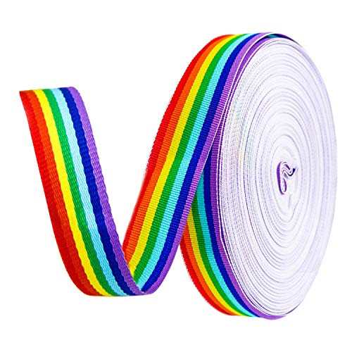 Teemico 50 Yards Rainbow Grosgrain Ribbons Double Face Rainbow Stripes for Wrapping Party Decor Jewelry Making DIY Handmade Crafts, 2.5cmWide ()