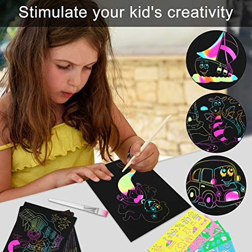 Mosoan Scratch Art Paper Set for Kids, 50pcs Rainbow Magic Scratch Off Paper Black Doodle Pads Boards with 8 Wooden Styluses, 4 Stencils and 1 Brush for Christmas Birthday Gift Easter Party Game