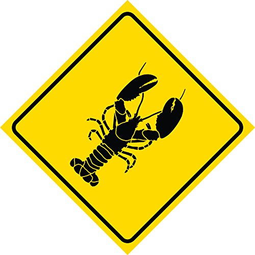- Yellow Diamond Caution Lobster Crossing Signs Commercial Plastic Square Sign - Single Sign, 12x12
