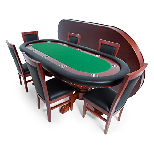 BBO Poker Rockwell Poker Table For 10 Players With Green Speed Cloth  Playing Surface, 94 X 44 Inch Oval, Includes Matching Dining Top With 6  Dining Chairs ...