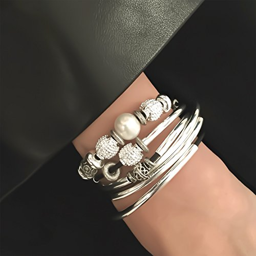 Lizzy James Kristy Silver Bracelet Necklace Pearls Silver Beads in Natural Black Leather (LARGE) by Lizzy James (Image #1)