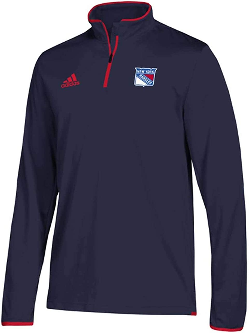 adidas Mens NY Rangers NHL Authentic 1//4 Zip Pullover