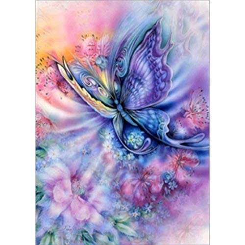 5D DIY Diamond Painting by Number Kits - Franterd Full Drill Round Diamond Rhinestone Pasted Embroidery Cross Stitch Craft - Butterfly]()