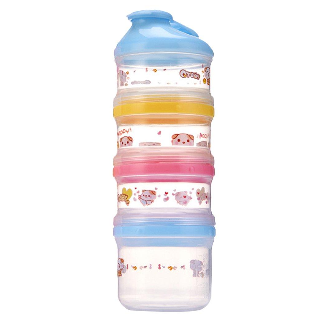 IPOTCH Boite de Lait en Poudre Bébé Doseuse 4 Compartiments en PP de Qualité Alimentaire Coloré - Bleu