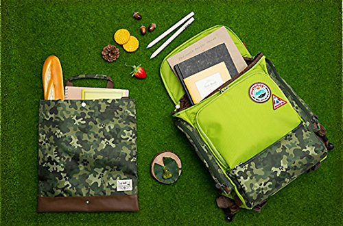 Muster bag Kids Backpack + Cross Bag Set - Trendy Camouflage Pattern School Backpacks For Girls Boys Kids Elementary Middle School Bags Cute Bookbag Outdoor Daily bag (Green) by Muster bag (Image #7)