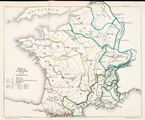 1892-lithograph-gaul-france-provinces-roman-empire-julius-caesar-augustus-german-original-lithograph