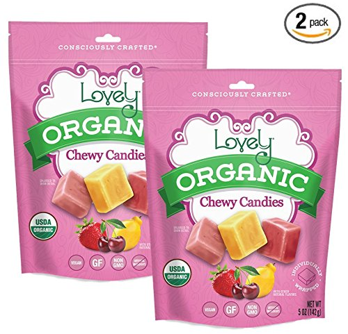 ORGANIC Chewy Candies (2-Pack) - Lovely Co. (2) 5oz Bags - Strawberry, Lemon & Cherry Flavors | NO HFCS, GLUTEN or Fake Ingredients, 100% VEGAN & Kosher!