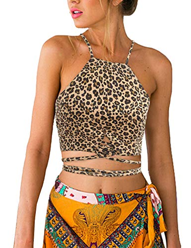 Blooming Jelly Women's Sleeveless Cheetah Crop Top High Neck Lace Up Cami Vest(L=US 6, Leopard)
