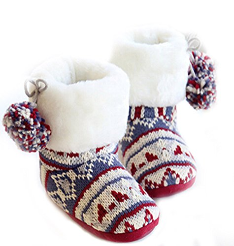 Misses Cable Knit (Womens Winter Indoor Boots Scottish Pom Pom Foldable Cuff Cable Knit Warm Fleece Lined Snow Booties Slippers, Ladies Girls Soft Cozy Non-slip Plush Short Ankle Boots Mules Home Bedroom Slip-on Shoes)