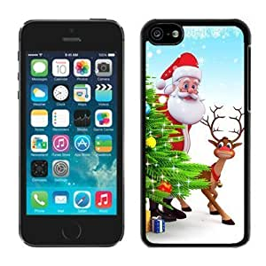 2014 New Style Iphone 5C TPU Case Santa Claus and Deer Black iPhone 5C Case 2